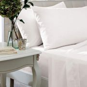 The Linen Consultancy 200 Thread Count White Flat Sheet - Double